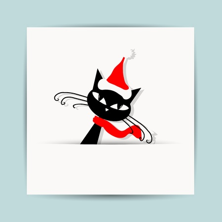 red  cat: Christmas postcard design with santa cat