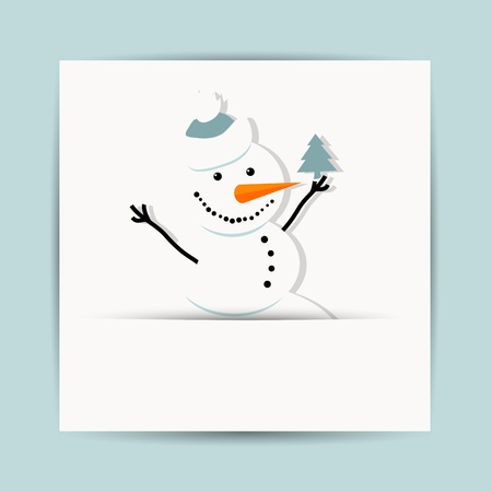 Happy snowman with christmas tree, postcard design Vector