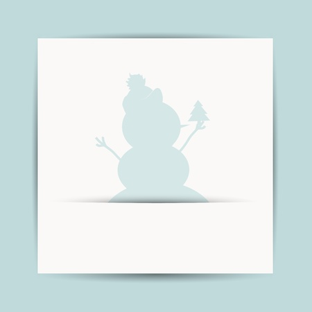 Happy snowman with christmas tree, postcard design Stock Vector - 16683258