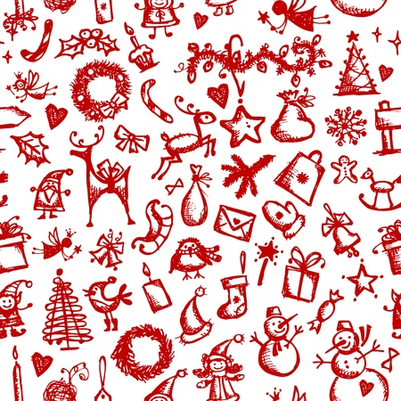 Christmas seamless sketch for your design Vector