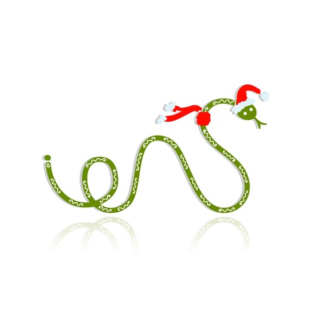 Snake in santa hat, symbol of chinese new year 2013 Stock Vector - 16683310