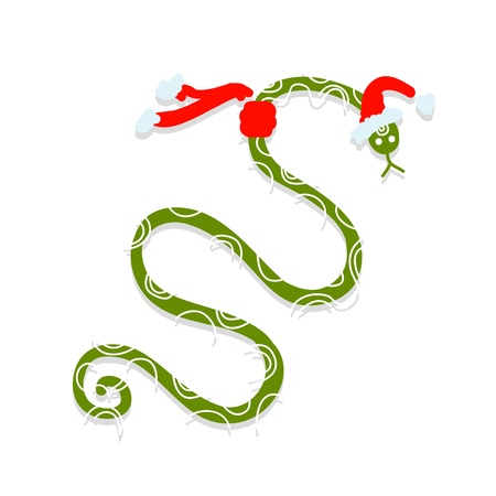 Snake in santa hat, symbol of chinese new year 2013 Vector