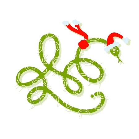 Snake in santa hat, symbol of chinese new year 2013 Stock Vector - 16683291