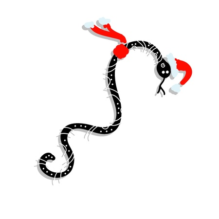 Snake in santa hat, symbol of chinese new year 2013 Stock Vector - 16683272