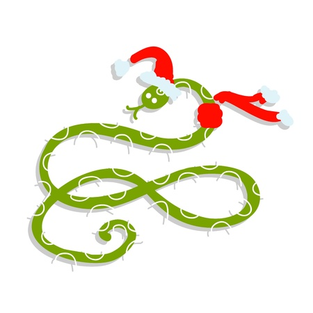 Snake in santa hat, symbol of chinese new year 2013 Stock Vector - 16683278