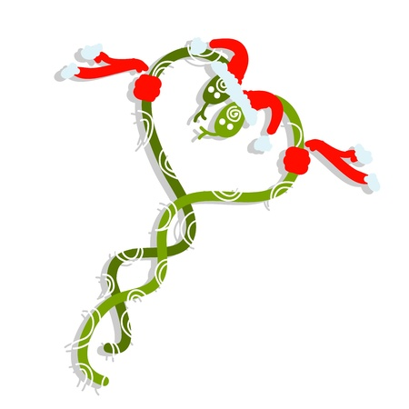 Couple of santa snakes, symbol of chinese new year 2013 Vector