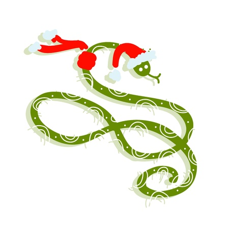 Snake in santa hat, symbol of chinese new year 2013 Stock Vector - 16683290
