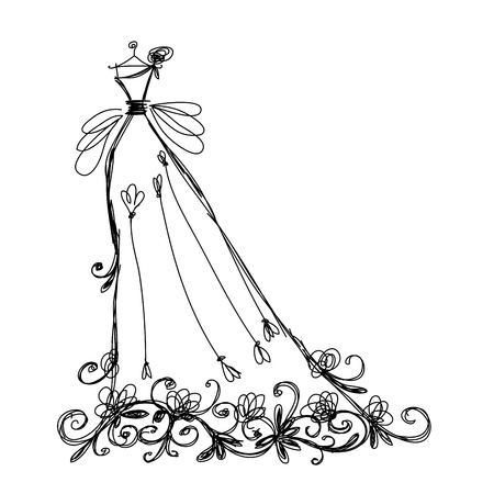 traje de gala: Boceto del vestido de novia con el ornamento floral para su diseño Vectores