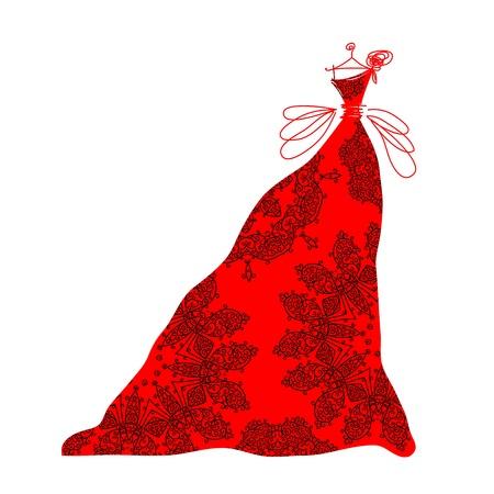 traje de gala: Bosquejo del vestido rojo para su dise�o ornamental Vectores