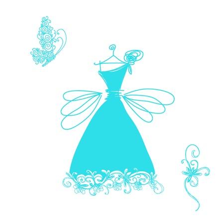 robes de soir�e: Croquis de robe de cocktail mignon pour votre conception