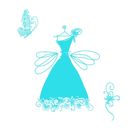white dress: Sketch of cute cocktail dress for your design