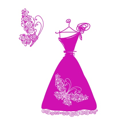 Sketch of cute cocktail dress for your design Vector