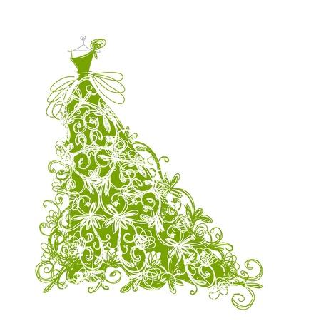 traje de gala: Bosquejo del vestido verde floral para su dise�o Vectores