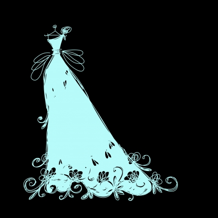 wedding dress silhouette: Sketch of bridal dress with floral ornament for your design