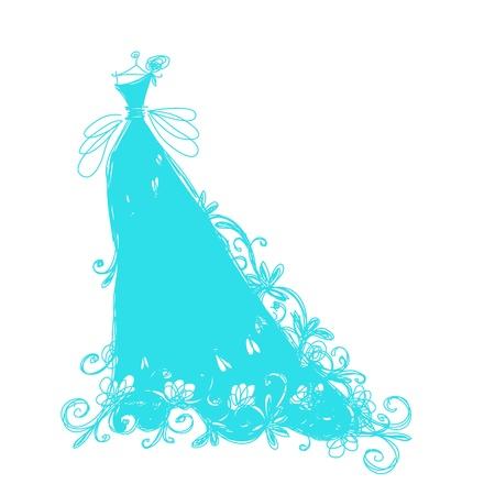 bridal dress: Schizzo di abito da sposa con l'ornamento floreale per il vostro disegno Vettoriali