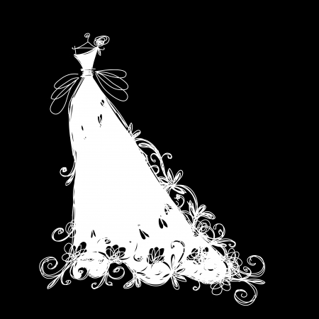 white dress: Sketch of wedding dress for your design