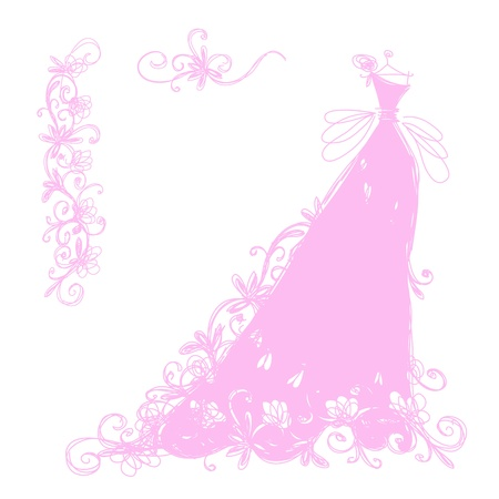 pink dress: Sketch of bridal dress with floral ornament for your design