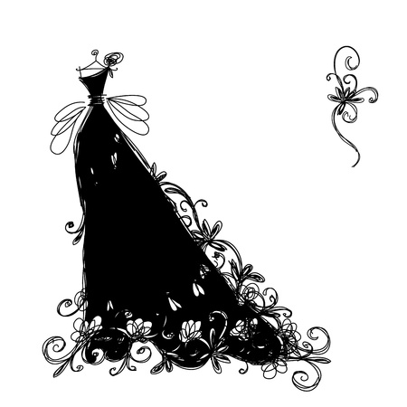 evening gown: Sketch of ornamental black dress for your design