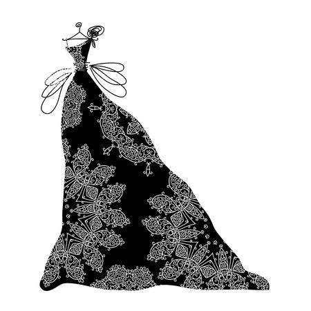 evening dress: Sketch of ornamental black dress for your design