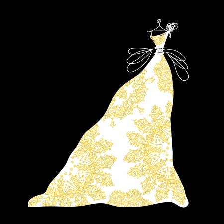 evening party: Sketch of bridal dress with floral ornament for your design