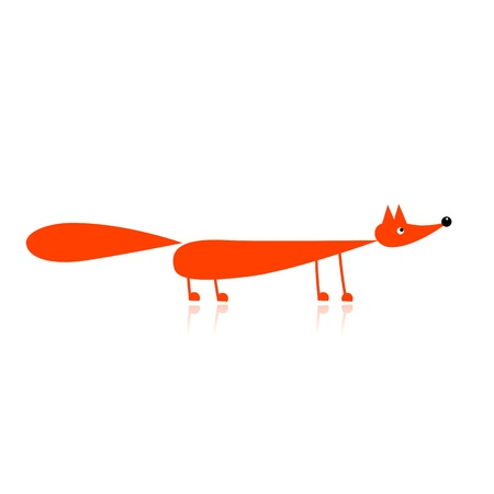 fox fur: Funny red fox for your design