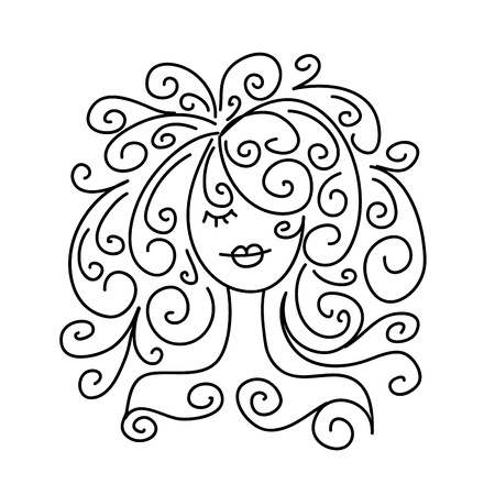 Sketch of girl portrait for your design Vector