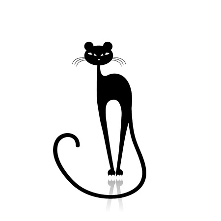 puma cat: Black puma silhouette for your design