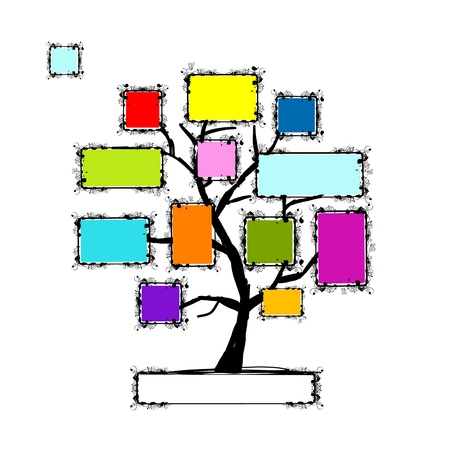 photo album page: Art tree with frames, place for your text or photo