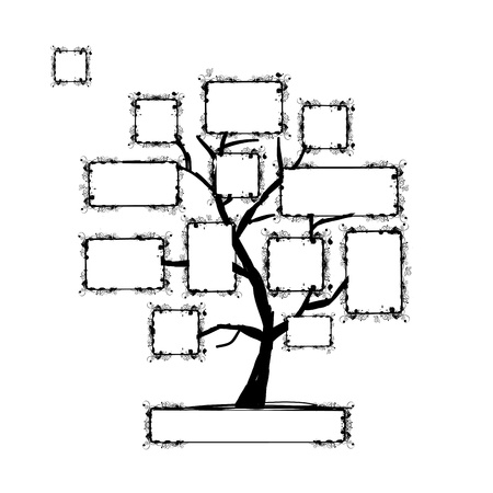 family picture: Art tree with frames, place for your text or photo