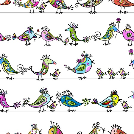 fowl:  Funny birds, seamless pattern for your design