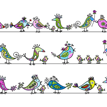 twitter:  Funny birds, seamless pattern for your design