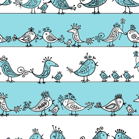 tweet:  Funny birds, seamless pattern for your design