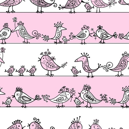 Funny birds, seamless pattern for your design  Stock Vector - 16709690