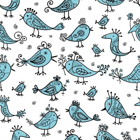 Pájaros divertidos, patrón transparente para su diseño Foto de archivo - 16709898