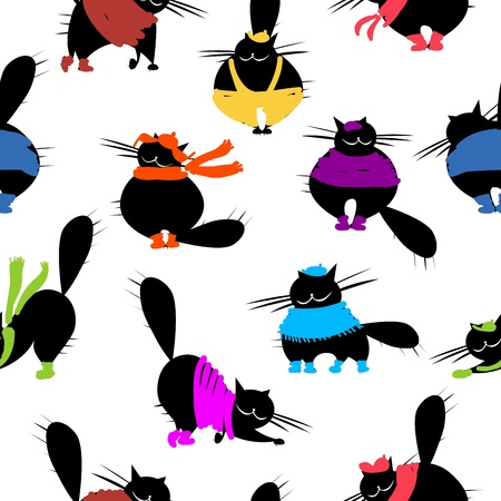 big hat: Fashion cats, seamless pattern for your design