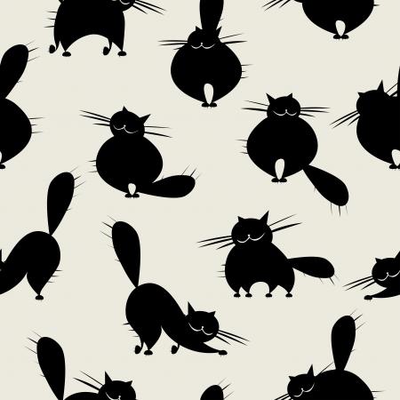 silueta de gato: Divertidos grandes felinos, patrón transparente para su diseño