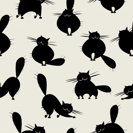 cat silhouette: Funny big cats, seamless pattern for your design Illustration