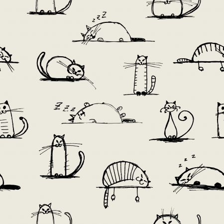 smiling cat: Funny cats sketch, seamless pattern for your design