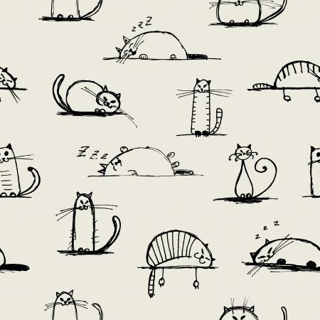 whisker characters: Gatos dibujo gracioso, patr�n transparente para su dise�o