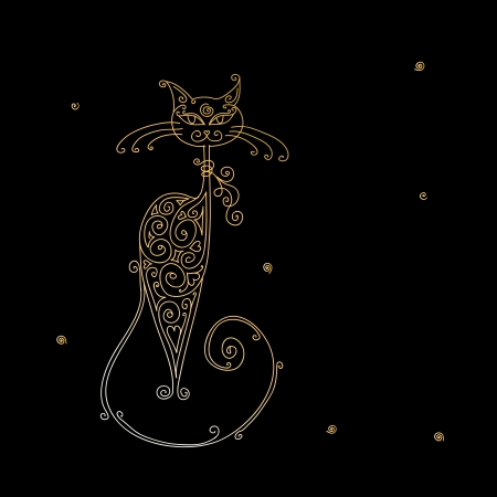 Art cat silhouette for your design Vector