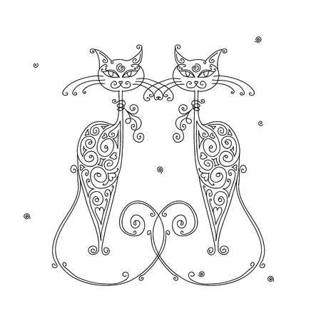 Couple of cats silhouette for your design Vector