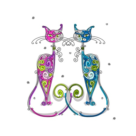 cat walk: Couple of cats silhouette for your design