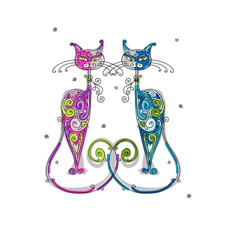 silueta de gato: Un par de gatos silueta para su diseño