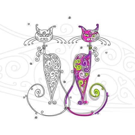 contour: Couple of cats silhouette for your design