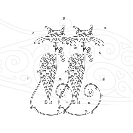 feline: Couple of cats silhouette for your design