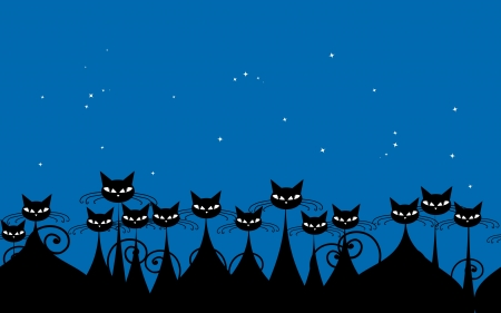 funny cats: Crowd of black cats in the night, seamless pattern for your design