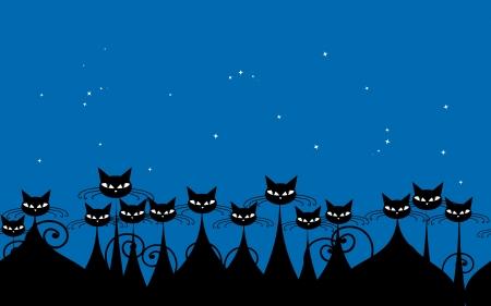 cartoon poes: Menigte van zwarte katten in de nacht, naadloze patroon voor uw ontwerp