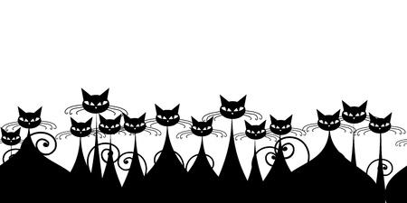 silueta de gato: Multitud de gatos negros, patrón transparente para su diseño