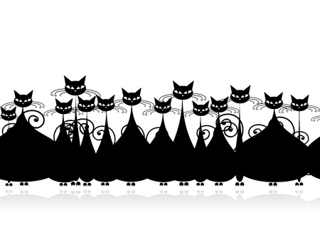 crowd tail: Crowd of black cats, seamless pattern for your design