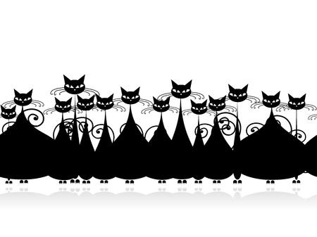 silueta de gato: Multitud de gatos negros, patr�n transparente para su dise�o